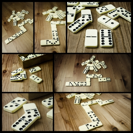 Photo collage, domino with black dots on wooden background Stock Photo - 17513397