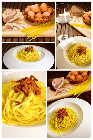 Traditional italian recipe, spaghetti alla carbonara with ingredients photo