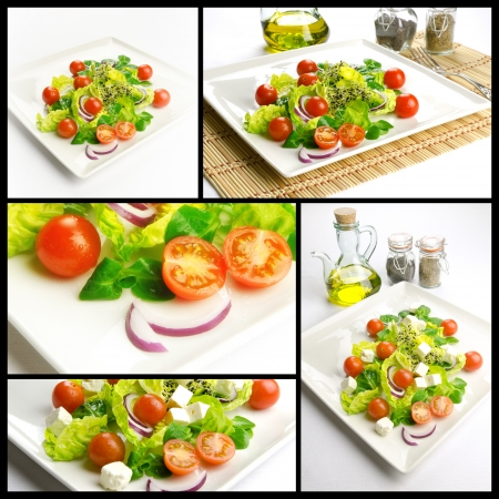 food pyramid: Photo composition with healthy food, salad with lettuce and tomatoes