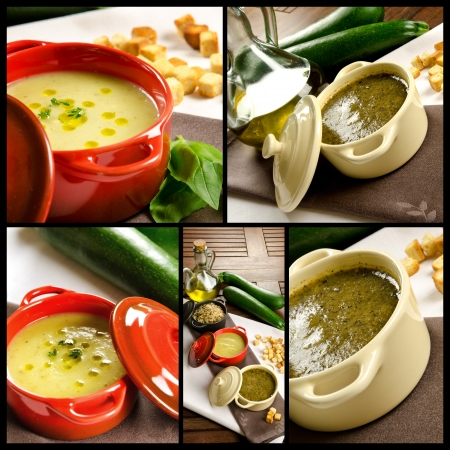 Vegetables soup, photo collage, in a casserole with ingredients and croutons photo
