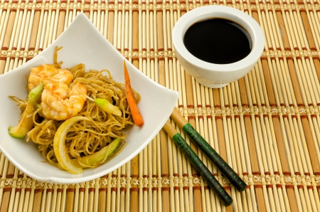 soy sprouts: Noodles with prawn, traditional chinese plate