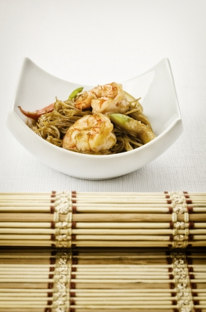Shrimp Yakisoba, noodles with prawn, traditional chinese plate photo