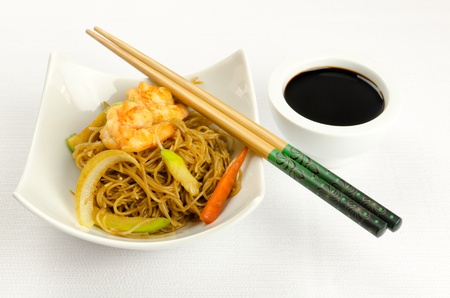 Noodles with prawn, traditional chinese plate photo