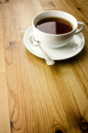 stimulant: Cup of tea on wooden background with copy space Stock Photo