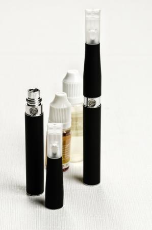 Electronic cigarette, detail and components  E-cigarette business Foto de archivo