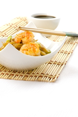 oriental food: Chinese noodles with prawn, traditional chinese plate Stock Photo
