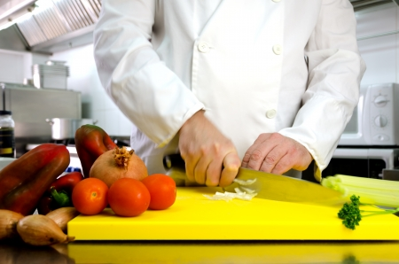 commercial equipment: Vegetables on cutting board and chef hands detail, restaurant kitchen on background Stock Photo