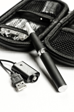 Electronic cigarette, detail and components. E-cigarette business photo