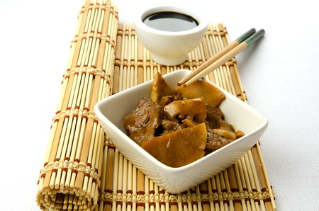 shitake: Beef with bamboo and shitake, chinese mushrooms, traditional chinese dish Stock Photo