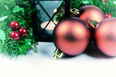 Christmas decoration with candle photo