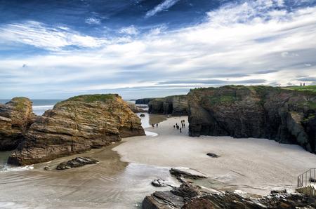 Famous Spanish destination, Cathedrals beach  playa de las catedrales  on Atlantic ocean photo