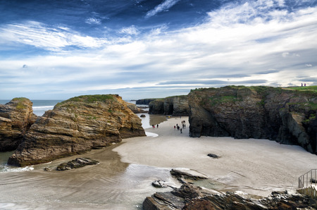 cantabrian: Famous Spanish destination, Cathedrals beach  playa de las catedrales  on Atlantic ocean Stock Photo