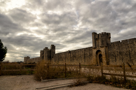 ramparts: Aigues-Mortes, french destination, medieval walls surrounding the city Editorial