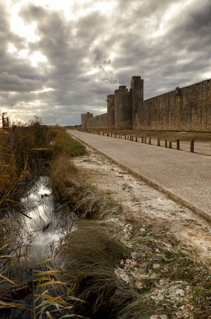 Aigues-Mortes, french destination, medieval walls surrounding the city