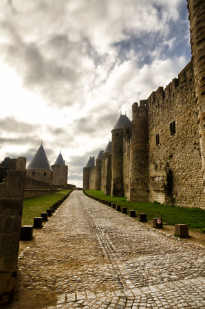 walled: Carcassonne, old and walled town, famous French destination Stock Photo