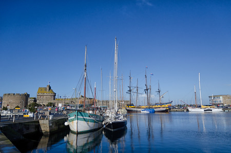 st malo: Saint Malo, French city on English channel, Brittany. Harbour detail Editorial