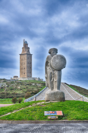 Spanish destination hercules tower of the oldest lighthouse photo
