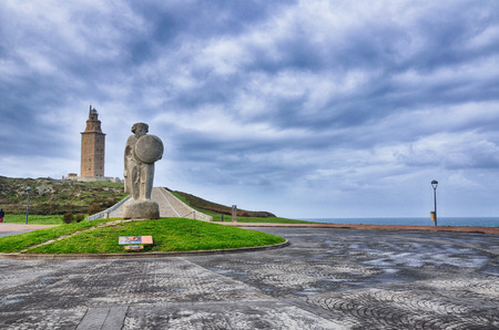 galicia: Spanish destination hercules tower of the oldest lighthouse