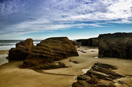 playa: Spanish destination the famous beach Playa de las Catedrales