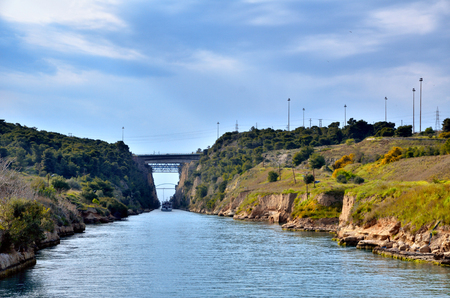 isthmus: Travel destination in Greece, Corinth channel