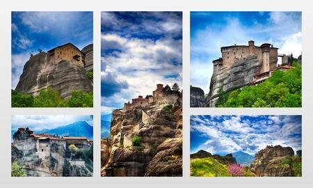 monasteri: Inaccessible monasteries on the cliff in Meteora, Greece, photo collage Archivio Fotografico