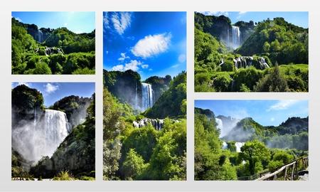 terni: Italian destination, Marmores falls, tallest man-made waterfall in Europe, photo collage
