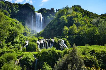 Italian destination, Marmore's falls, tallest man-made waterfall in Europe Foto de archivo