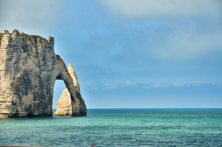 monet: Etretat, famous french destination for his cliffs and natural arches Stock Photo