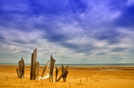 Omaha Beach was one of the landing area of the Normandy Invasion of World War II Stock Photo