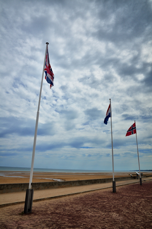 anniversary beach: Omaha Beach was one of the landing area of the Normandy Invasion of World War II Stock Photo