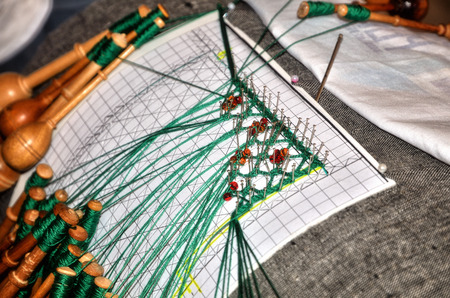 craftsmanship: Bobbin lace is a lace worked on a pillow, traditional handcraft