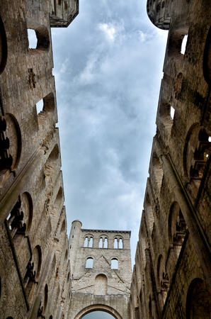 abbey ruins abbey: Jumieges Abbey in Normandy is one of the most beautiful, romantic and outstanding ruins in France Stock Photo
