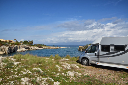Recreational vehicle with sea view, freedom concept