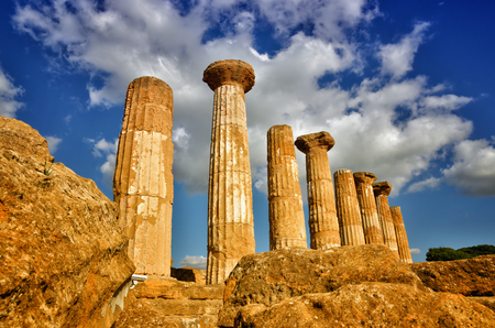 Italian destination, temple of heracles in the archaeological site in the Valley of the Temples, Agrigento, Sicily Stock Photo