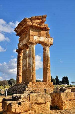 valley of the temples: Temple of Castor and Pollux in the Valley of Temples near Agrigento, Sicily