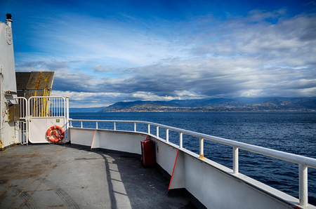 ship bow: View of the sea of Strait of Messina from the bow of a ferry boat