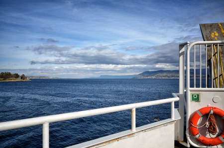 bow of boat: View of the sea of Strait of Messina from the bow of a ferry boat