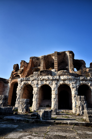 The Amphitheater of Santa Maria Capua Vetere, the second biggest roman amphitheater, tourist destination for cultural trips to Italy
