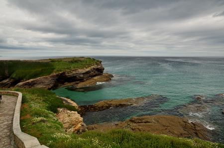 Ocean coast in the north west of Spain, Galicia region, little town of Foz, cliffs