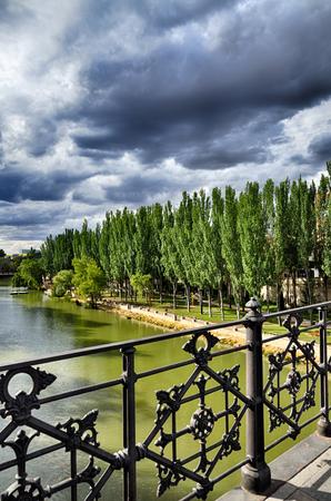 patrimony: Aranda de Duero is the capital of the Ribera del Duero wine region, famous Spanish destination. Duero river Stock Photo