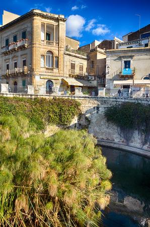 ortigia: The Fountain of Arethusa in the old centre town of Syracuse, Sicily, on Ortigia island