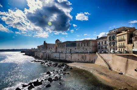 Old centre town of Syracuse, Sicily, on Ortigia island