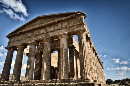 Italian destination, Temple of Concordia, archaeological site in the Valley of the Temples in Agrigento, Sicily Stock Photo