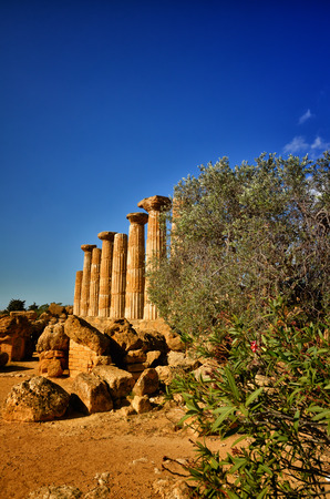 historical monument: Italian destination, temple of heracles in the archaeological site in the Valley of the Temples, Agrigento, Sicily Stock Photo
