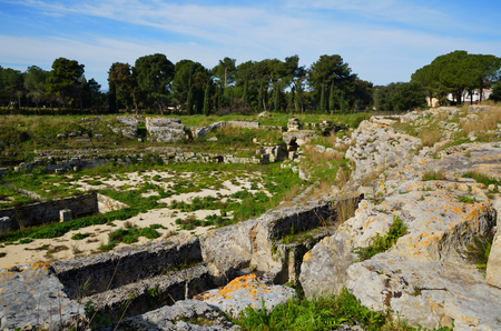 Archaeological Park of Neapolis in Syracuse, Sicily, ruins of the Roman amphitheater