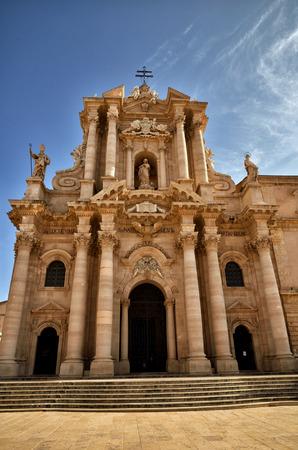 ortigia: The Duomo of Syracuse in the old downtown on Ortigia island, Sicily