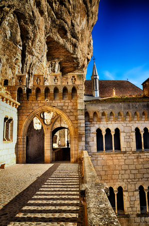 Rocamadour, one of the most beautiful village in France, details of the Sanctuary and the chapels 스톡 콘텐츠
