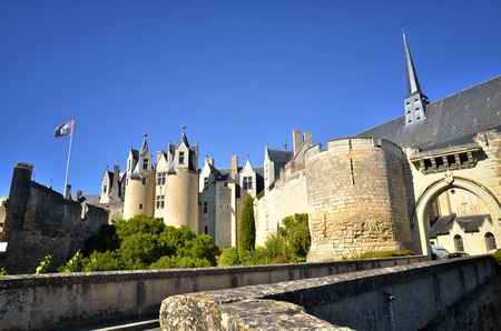 The city of Montreuil-Bellay, located on the edge of Thouet, has an exceptional medieval heritage. Among the most beautiful detours in France, the city still retains its ramparts, its fortified gates, its castle. Stock Photo