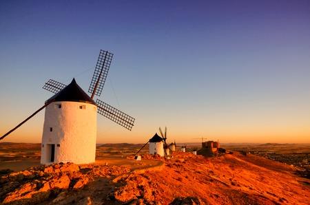 Famous windmills in Consuegra, Toledo, Spain. Spanish destination