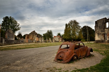 The village of Oradour-sur-Glane, France was destroyed in 1944, when 642 of its inhabitants, including women and children, were massacred by a German Waffen-SS company. A new village was built nearby